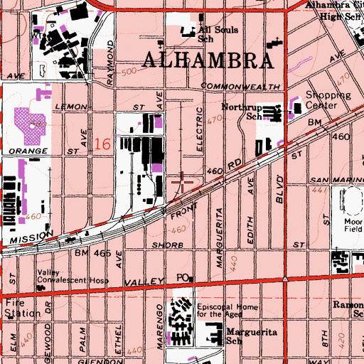 Topographic Map of Alhambra Veterinary Hospital, CA