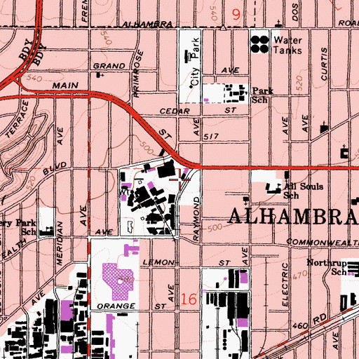 Topographic Map of Alhambra Medical University, CA