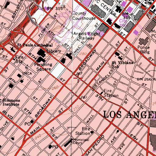 Topographic Map of Los Angeles Center Studios, CA
