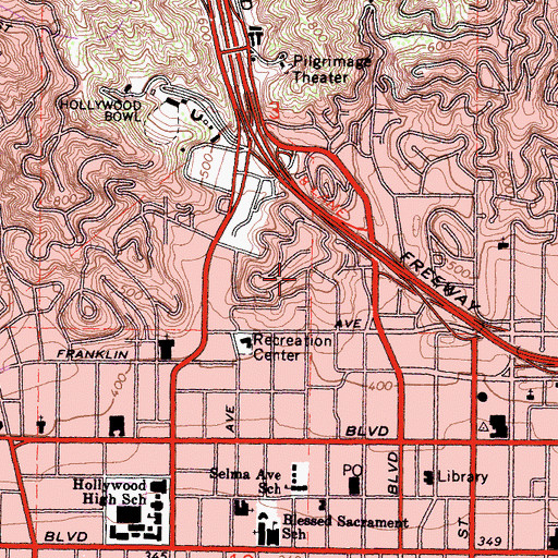 Topographic Map of Whitley Heights, CA