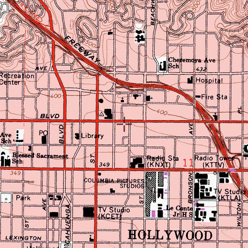 Topographic Map of Henry Fonda Theater, CA