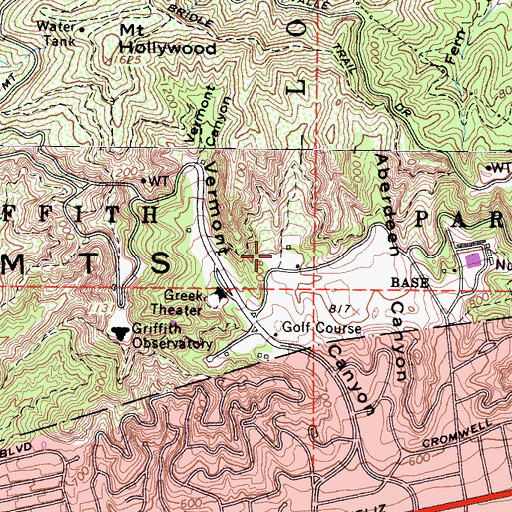 Topographic Map of Griffith-Vermont Canyon Tennis Courts, CA