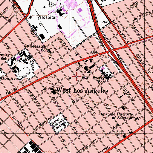 Topographic Map of Los Angeles Police Department - West Los Angeles Police Station, CA