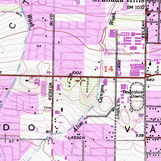 Topographic Map of Los Angeles Police Department - Devonshire Community, CA