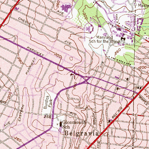Topographic Map of Berean Bible Church, MD