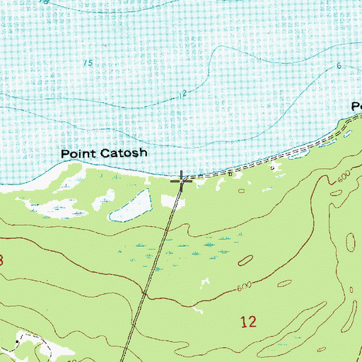 Topographic Map of Point Catosh Post Office (historical), MI