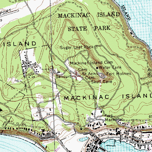 Topographic Map of Fort Mackinac Post Cemetery, MI