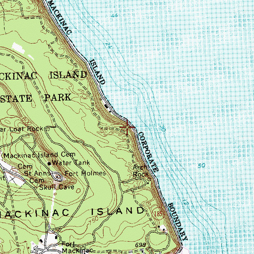 Topographic Map of Hennepin Point, MI