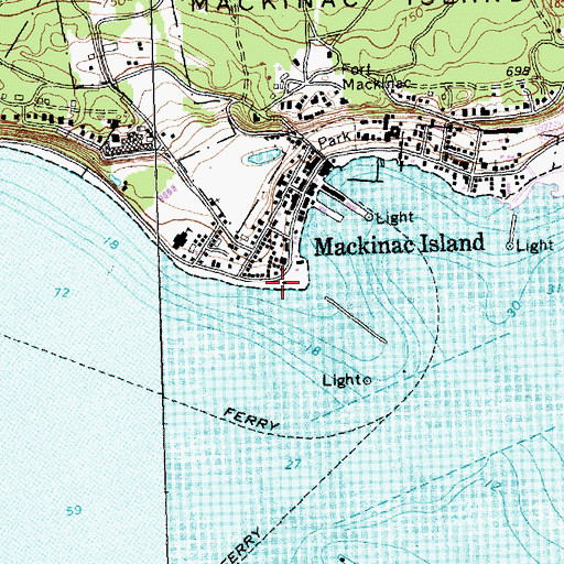 Topographic Map of Mackinac Island Public Library, MI