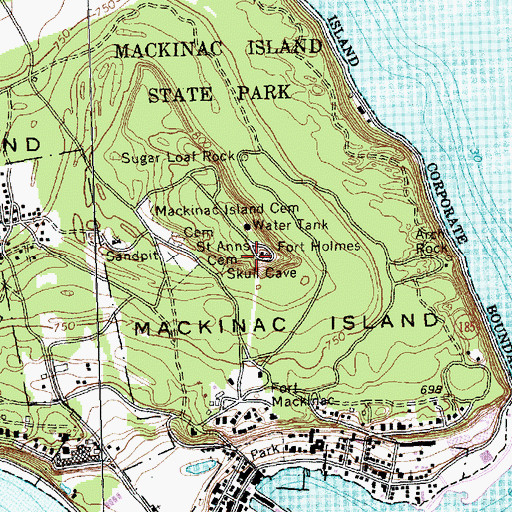 Topographic Map of Fort Holmes Historical Marker, MI