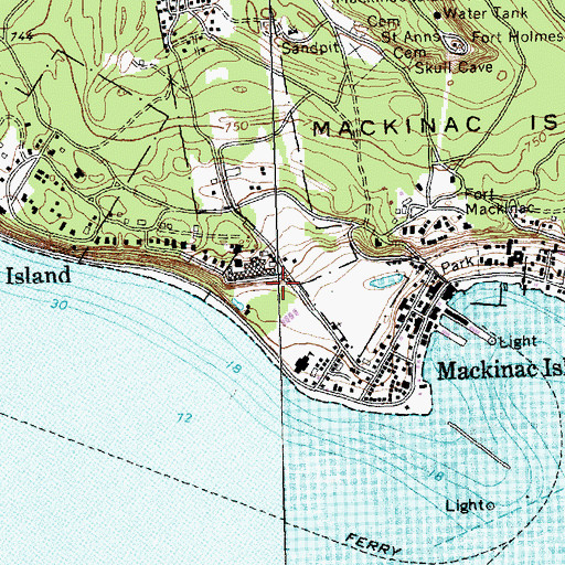Topographic Map of Mackinac Conference Historical Marker, MI