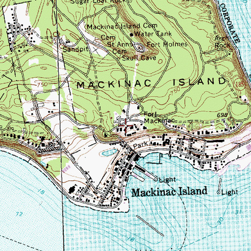 Topographic Map of Historic Fort Mackinac Historical Marker, MI
