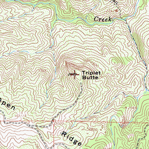 Topographic Map of Triplet Butte, CA