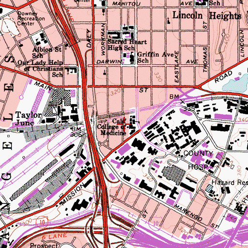 Topographic Map of Los Angeles County College of Nursing and Allied Health, CA