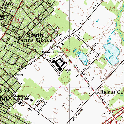 Topographic Map of Penns Grove High School, NJ