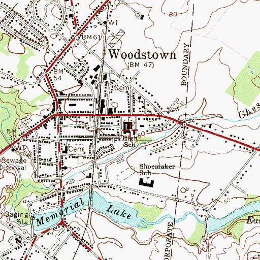 Topographic Map of Woodstown Middle School, NJ