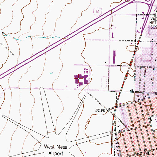 Topographic Map of West Mesa High School, NM