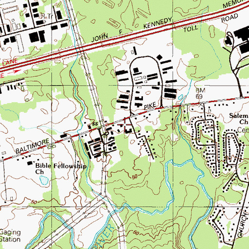 Topographic Map of United Way of Delaware Community Services Center, DE