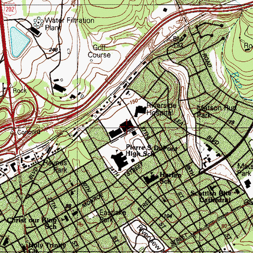 Topographic Map of Miller Road Shopping Center, DE