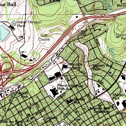 Topographic Map of Riverside Hospital, DE