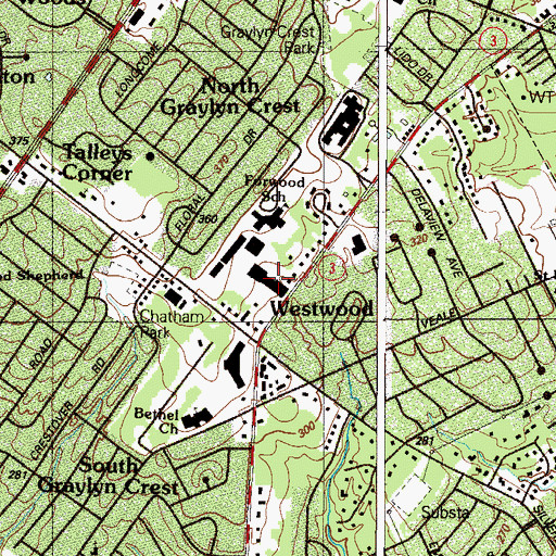 Topographic Map of Branmar Center Shopping Center, DE