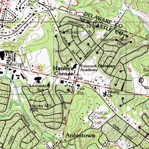 Topographic Map of Concord Baptist Church, DE