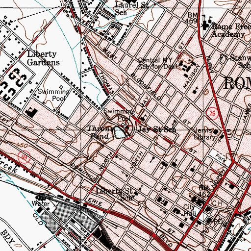 Topographic Map of Murphy Memorial Hospital (historical), NY