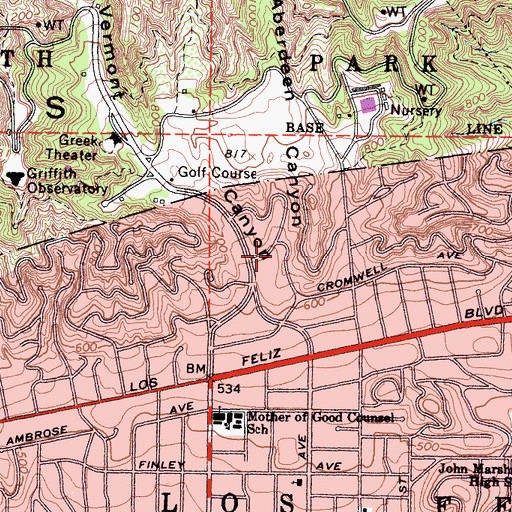 Topographic Map of Aberdeen Canyon, CA