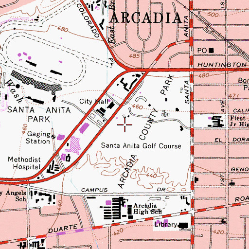 Topographic Map of Arcadia County Park, CA