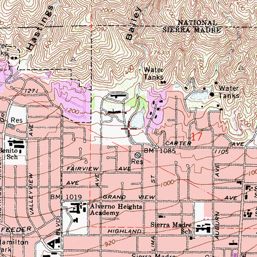 Topographic Map of Bailey Canyon, CA
