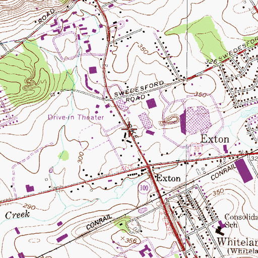Topographic Map of Exton Census Designated Place, PA