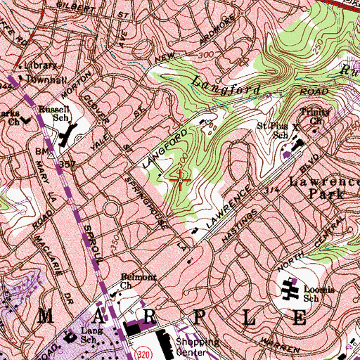 Topographic Map of Broomall Census Designated Place, PA