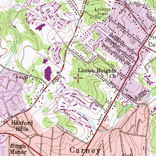 Topographic Map of Carney Census Designated Place, MD
