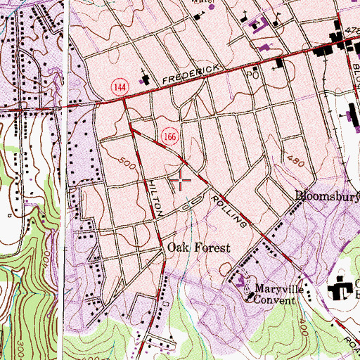 Topographic Map of Catonsville Census Designated Place, MD