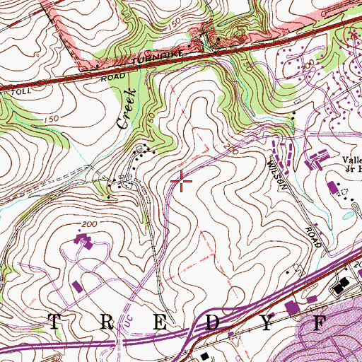 Topographic Map of Chesterbrook Census Designated Place, PA