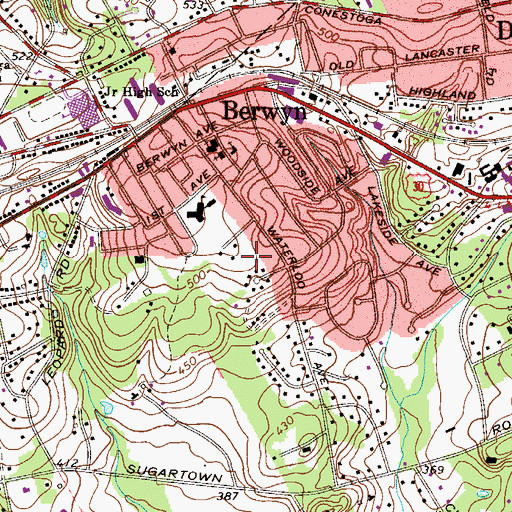Topographic Map of Devon-Berwyn Census Designated Place (historical), PA