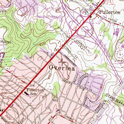 Topographic Map of Overlea Census Designated Place, MD