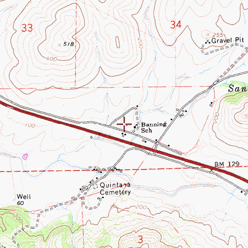 Topographic Map of Banning School, CA