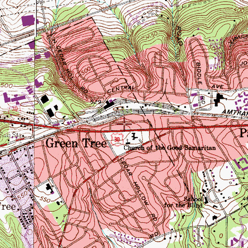 Topographic Map of Paoli Census Designated Place, PA
