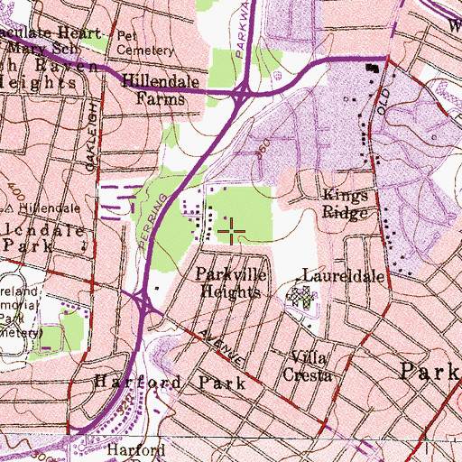 Topographic Map of Parkville Census Designated Place, MD