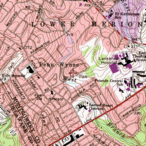Topographic Map of Penn Wynne Census Designated Place, PA