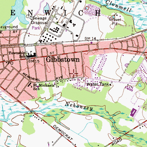 Topographic Map of Gibbstown Census Designated Place, NJ