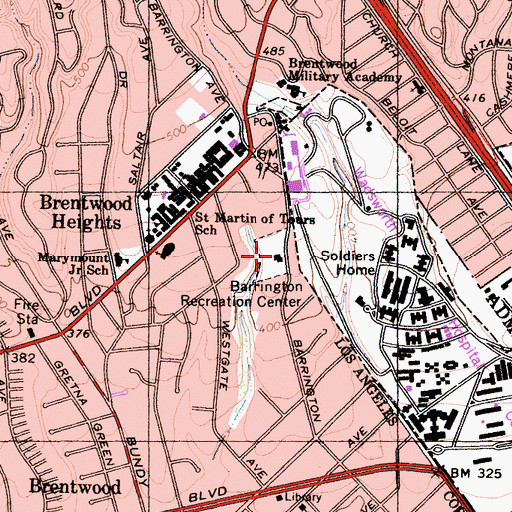 Topographic Map of Barrington Recreation Center, CA
