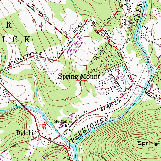 Topographic Map of Spring Mount Census Designated Place, PA