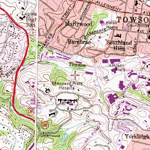 Topographic Map of Towson Census Designated Place, MD