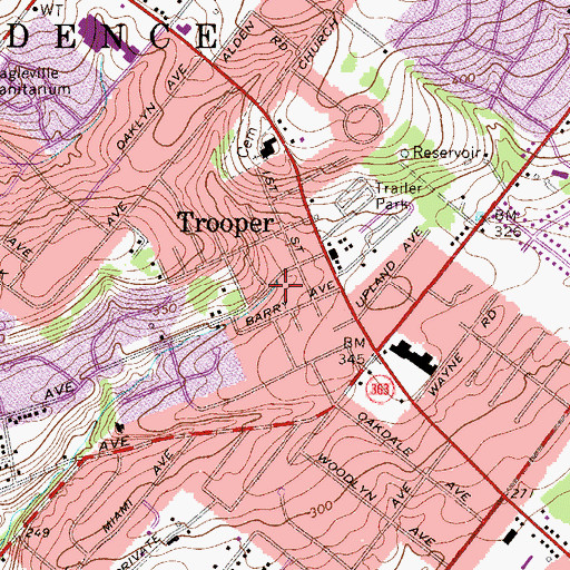 Topographic Map of Trooper Census Designated Place, PA