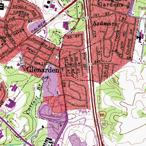 Topographic Map of City of Glenarden, MD