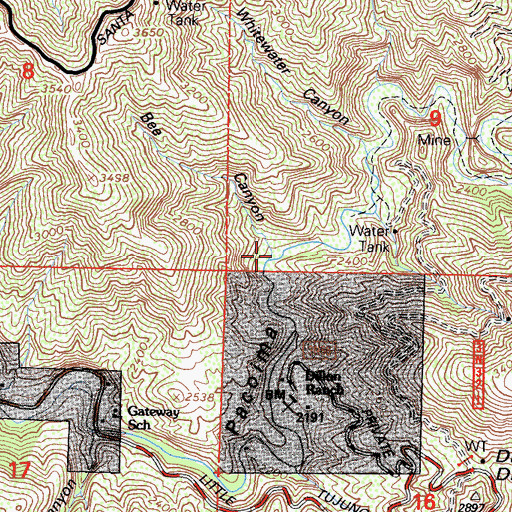 Topographic Map of Bee Canyon, CA