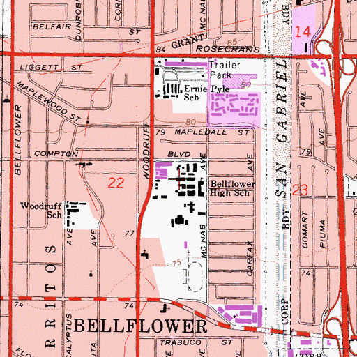 Topographic Map of Bellflower Middle and High School, CA