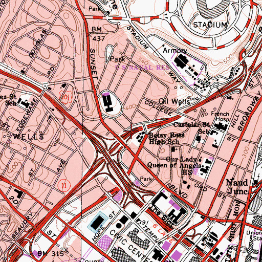 Topographic Map of Betsy Ross High School, CA